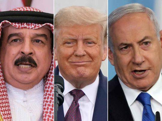 Bahrain's King Hamad bin Isa Al Khalifa, US President Donald Trump and Israeli Prime Minister Benjamin Netanyahu